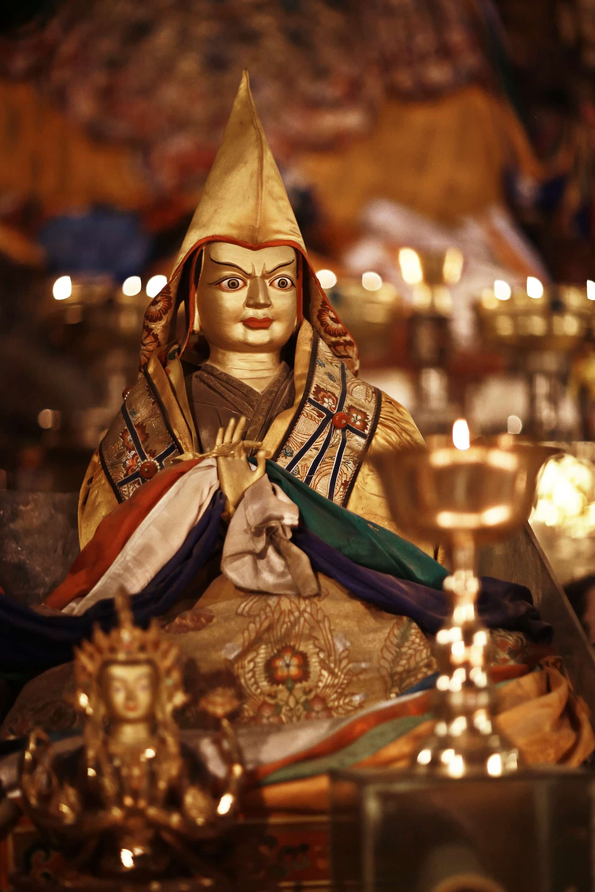 Statue of the Tsongkhapa in Tibetan monastery